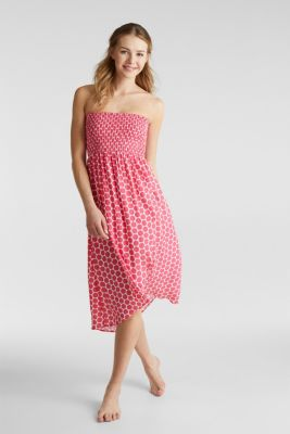 Beach dress with a smocked bustier, BERRY RED, detail