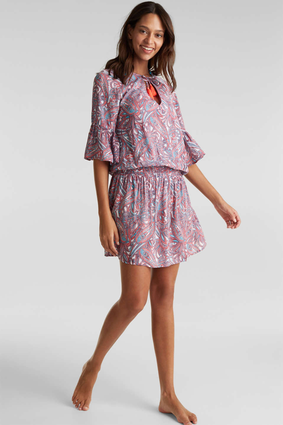 Tunic dress with a paisley print, CORAL, detail image number 0