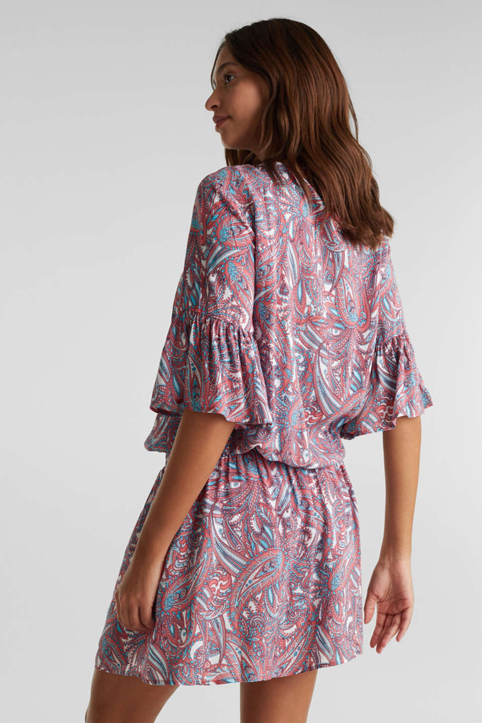 Tunic dress with a paisley print, CORAL, detail image number 1