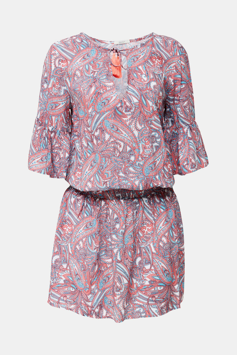 Tunic dress with a paisley print, CORAL, detail image number 2