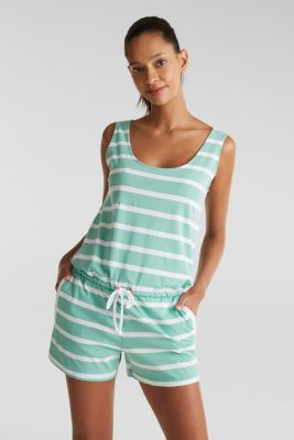Jersey playsuit made of 100% cotton, DUSTY GREEN, detail