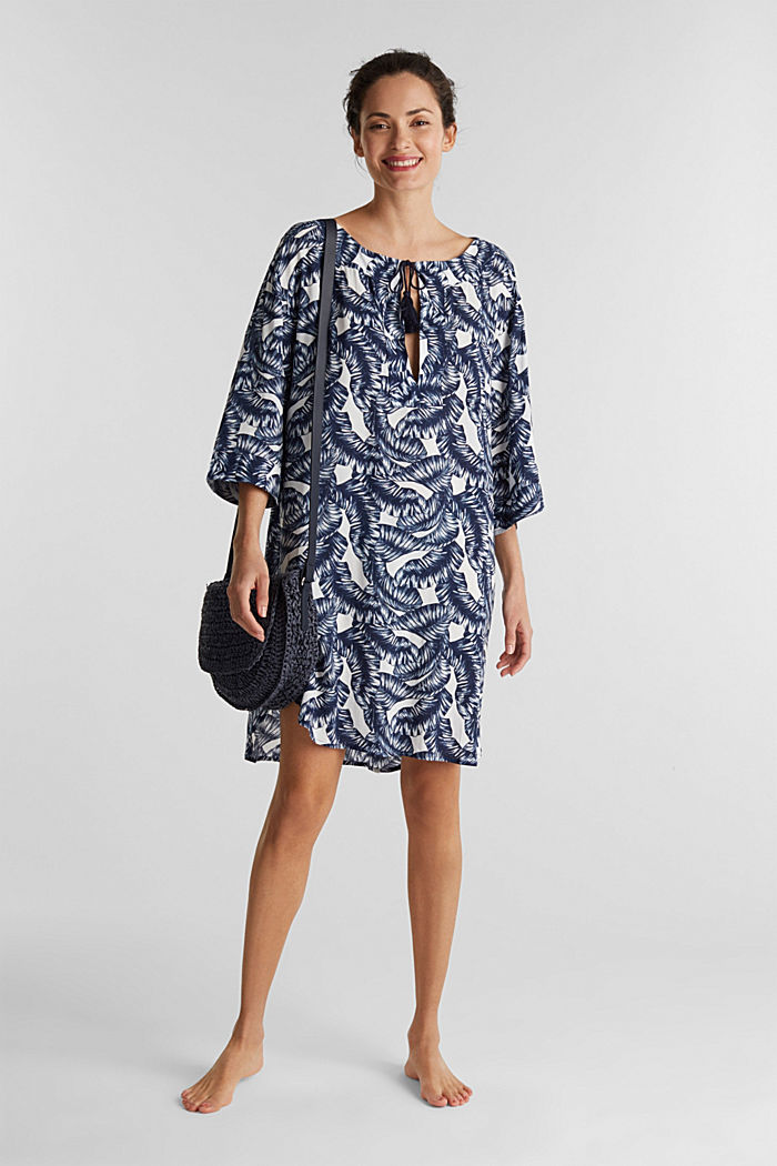 Dress with a print and tassel ties, NAVY, detail image number 0