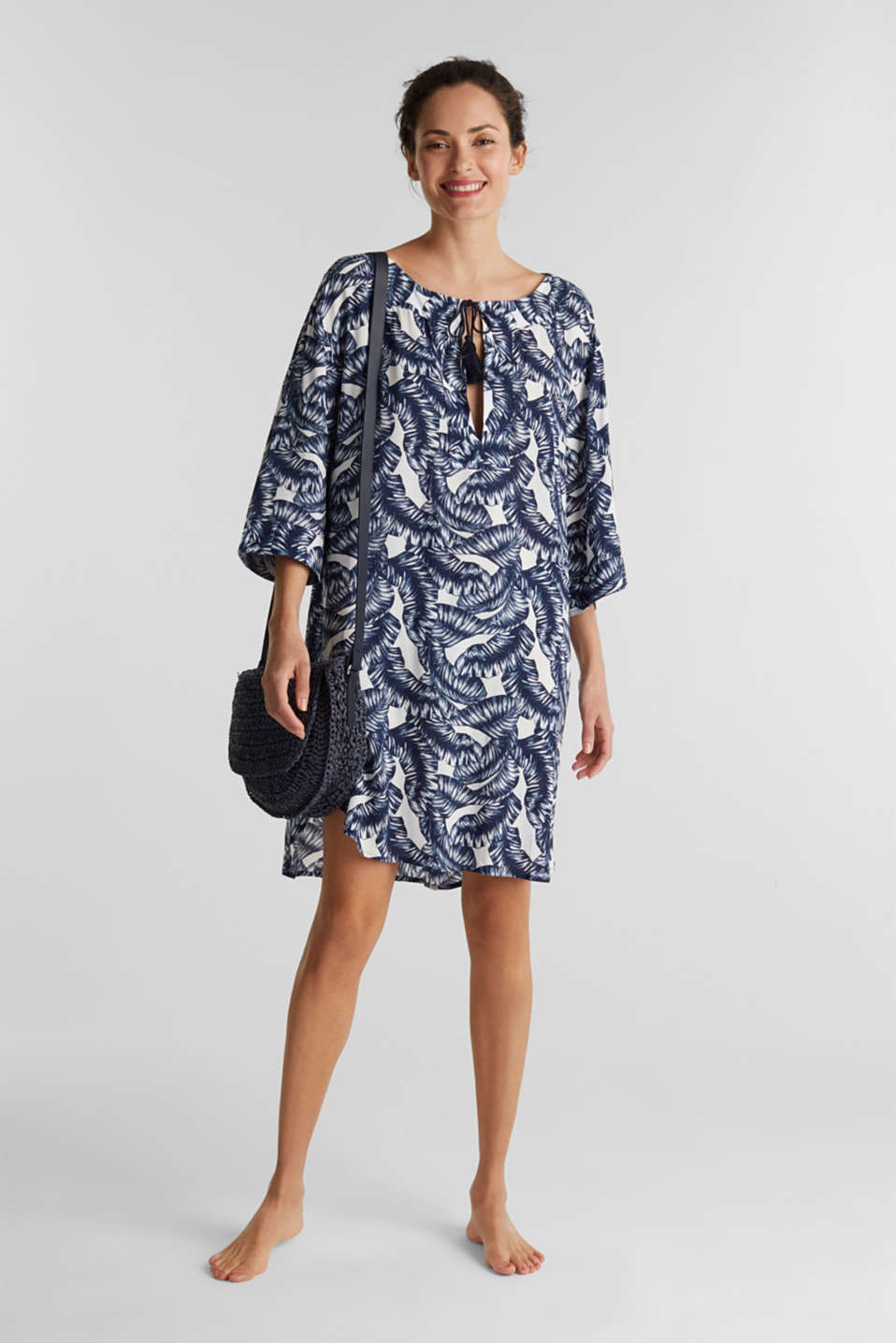 Dress with a print and tassel ties, NAVY 2, detail image number 0