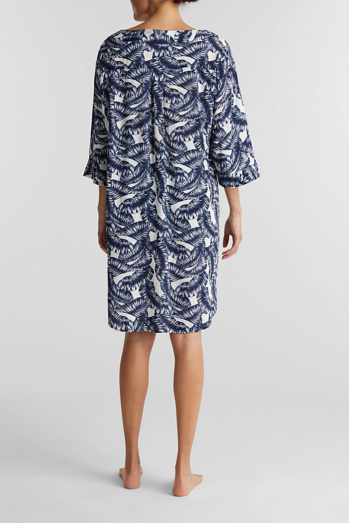 Dress with a print and tassel ties, NAVY, detail image number 1