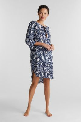 Dress with a print and tassel ties, NAVY 2, detail