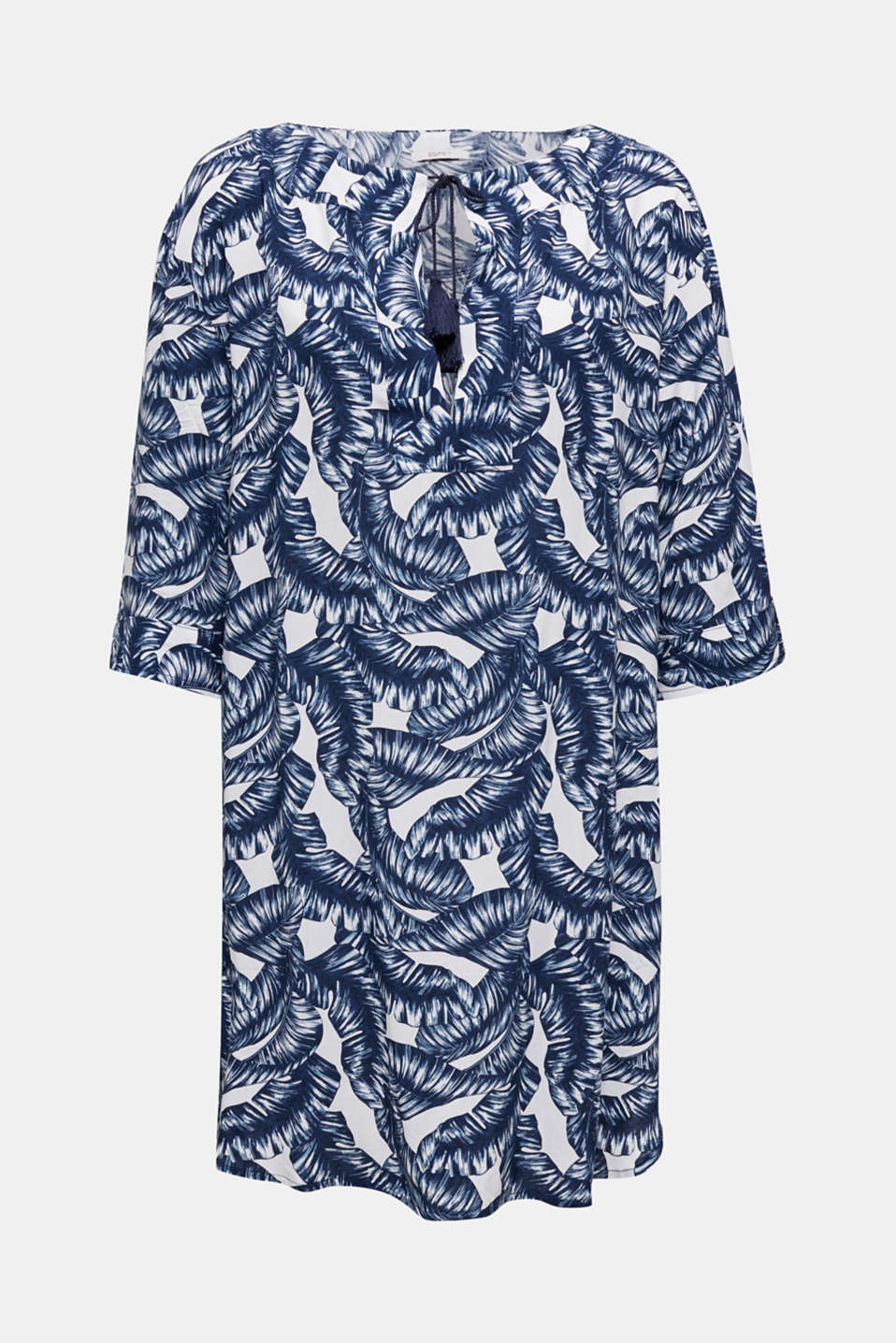 Dress with a print and tassel ties, NAVY 2, detail image number 3