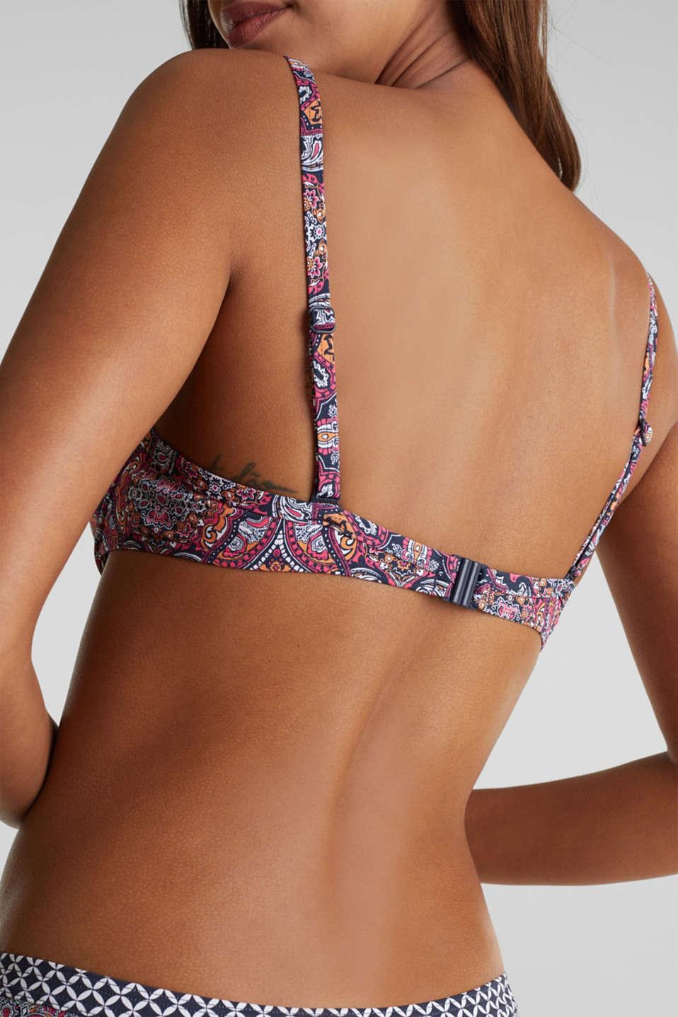 Mixed pattern push-up bikini top, NAVY 2, detail image number 3