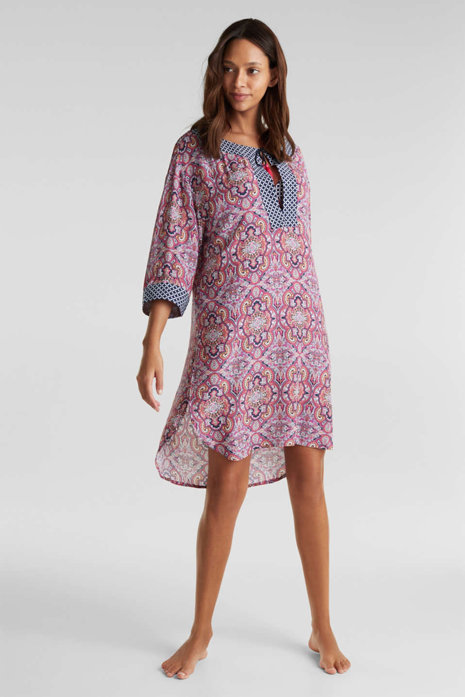 Tunic dress with a mixed pattern, NAVY 2, detail image number 0