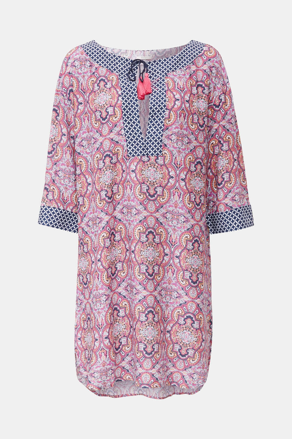 Tunic dress with a mixed pattern, NAVY 2, detail image number 2