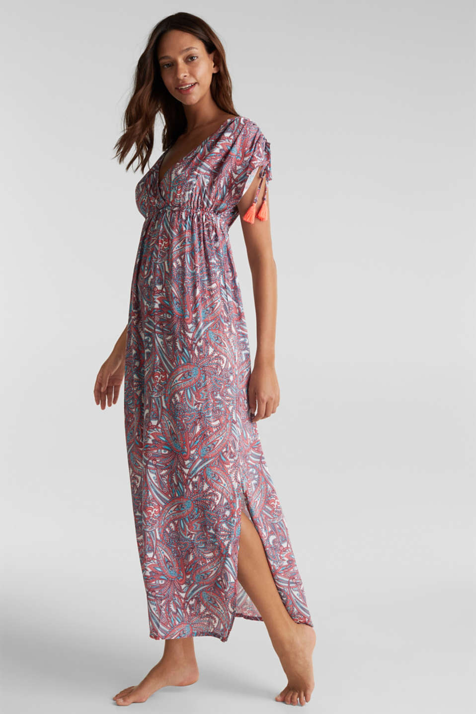Maxi dress with a paisley print, CORAL, detail image number 0