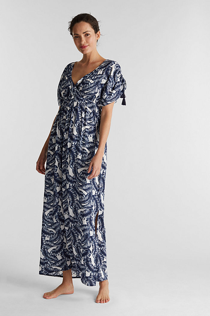 Maxi beach dress with a leaf print, NAVY, detail image number 0