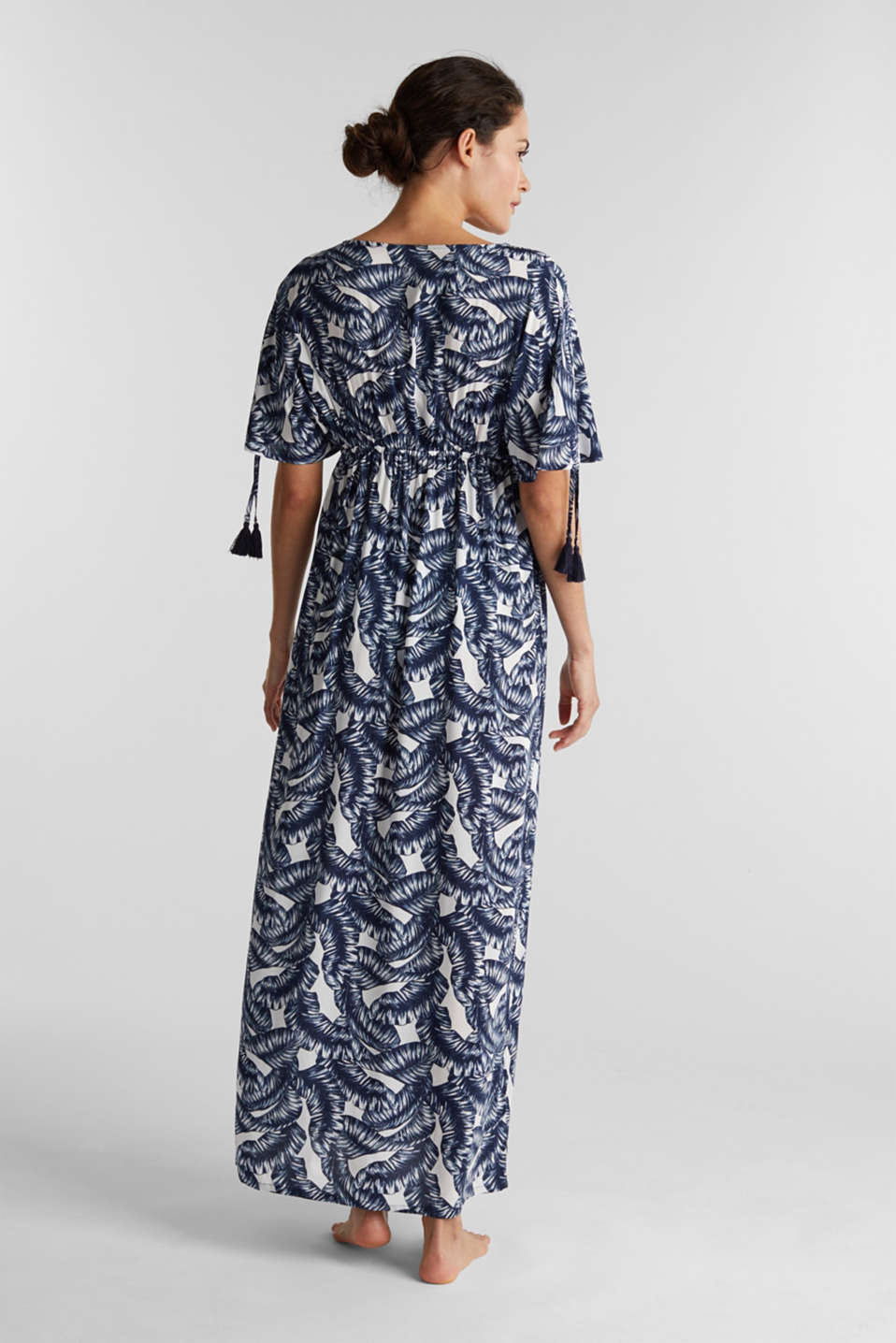 Maxi beach dress with a leaf print, NAVY 2, detail image number 1