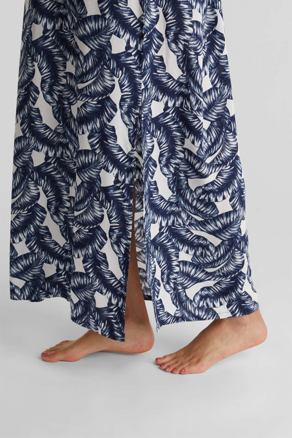 Maxi beach dress with a leaf print, NAVY 2, detail image number 3