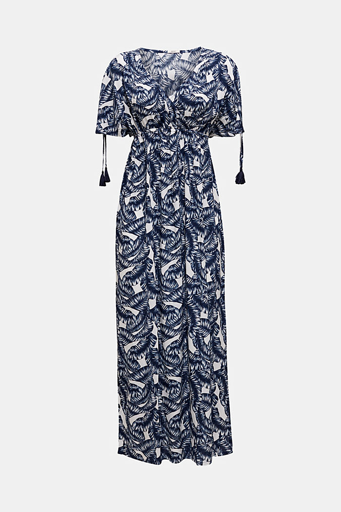 Maxi beach dress with a leaf print, NAVY, detail image number 2