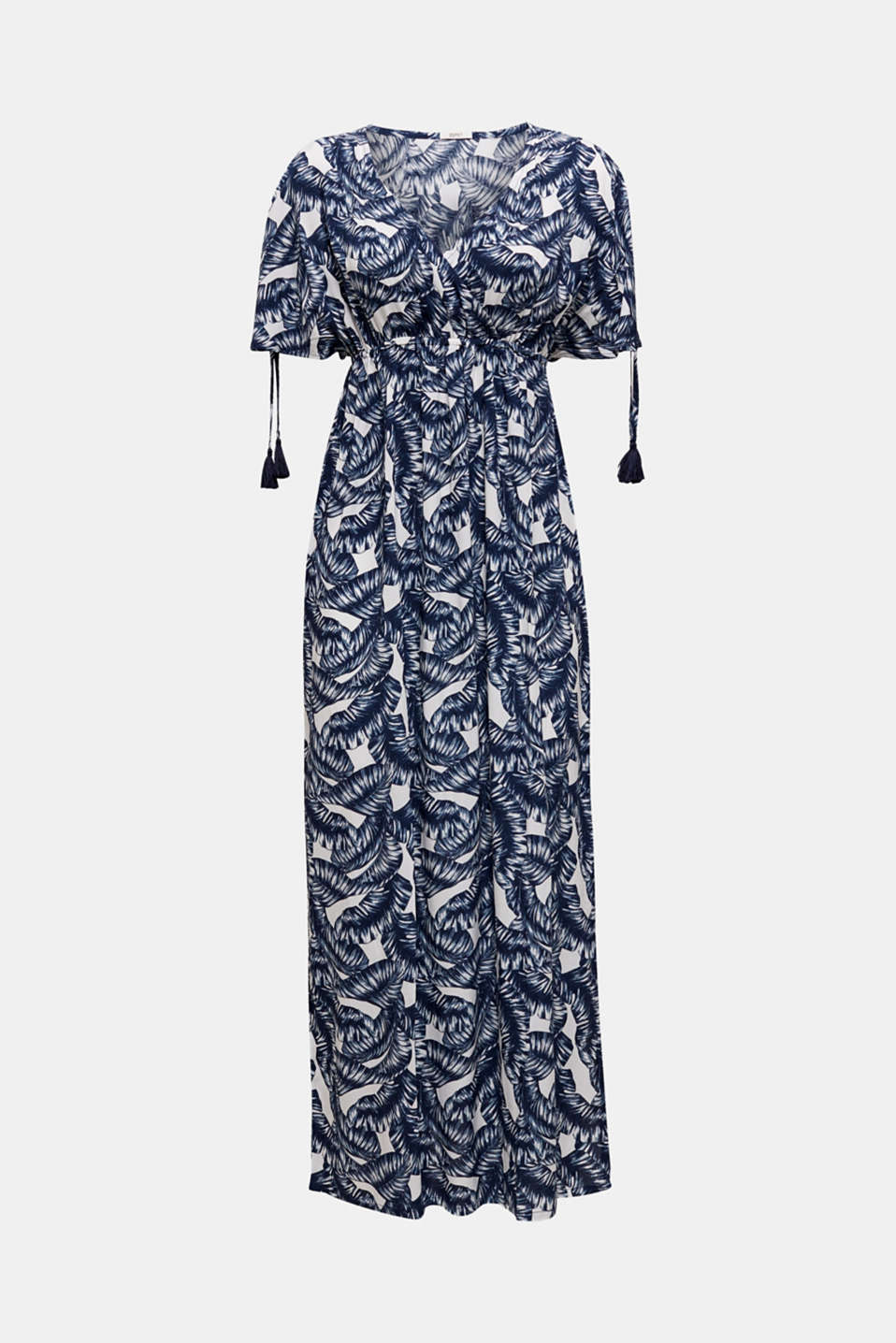 Maxi beach dress with a leaf print, NAVY 2, detail image number 2