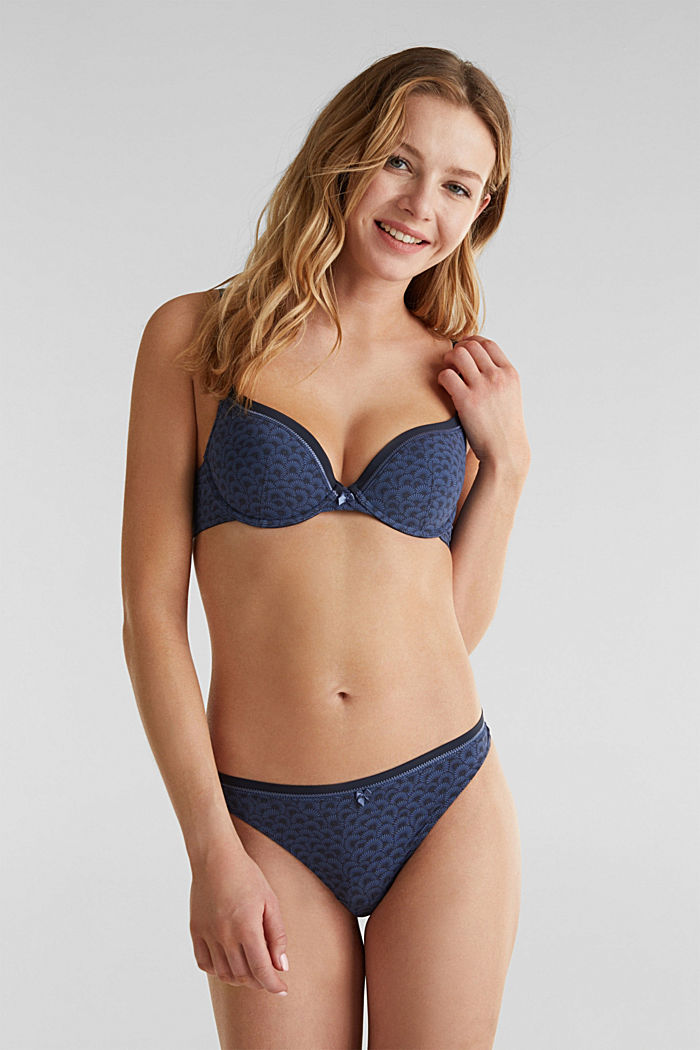 Padded underwire bra with a shell print, NAVY, detail image number 0