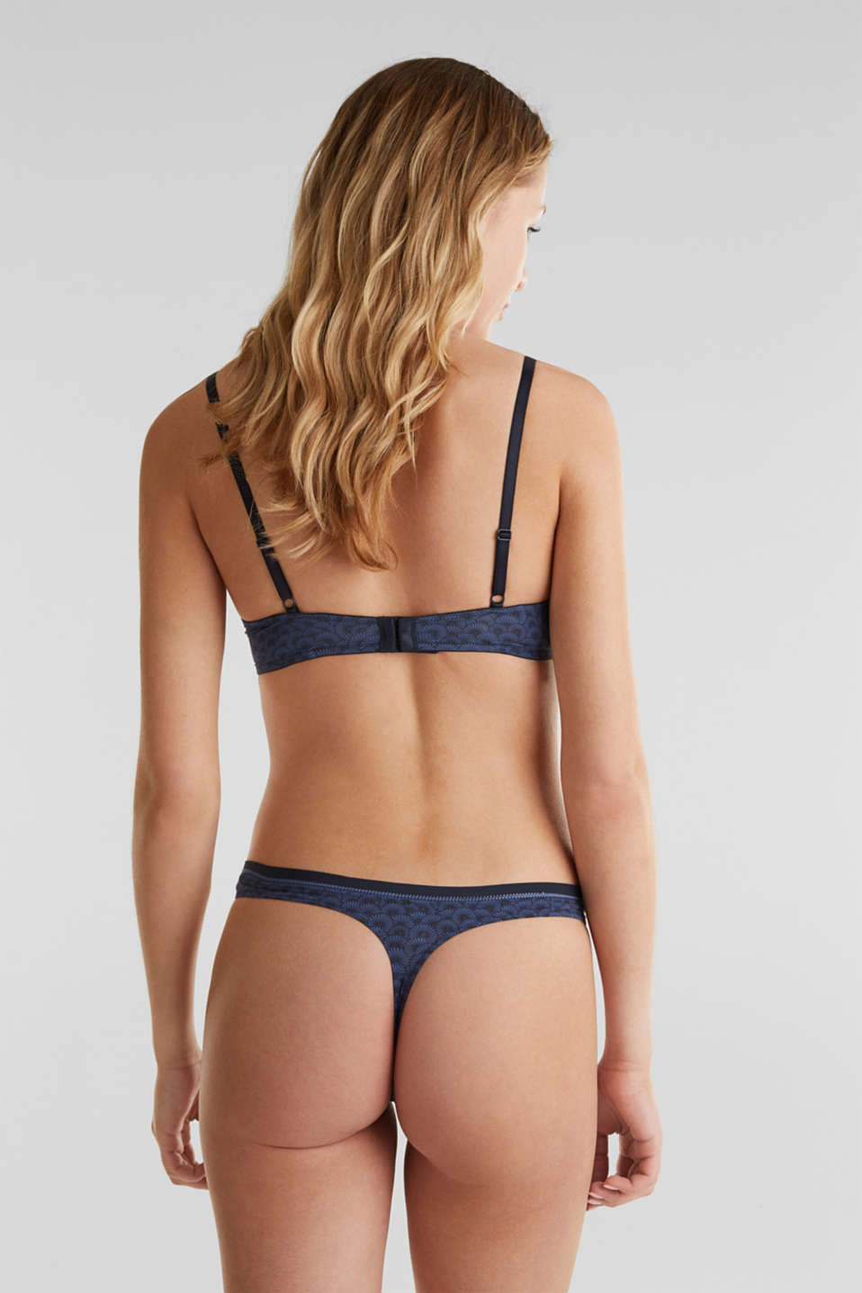 Padded underwire bra with a shell print, NAVY 2, detail image number 1