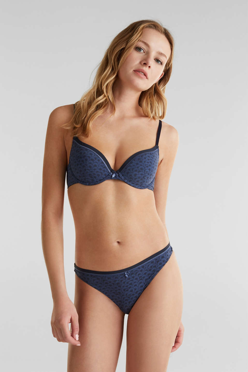 Padded underwire bra with a shell print, NAVY 2, detail image number 2