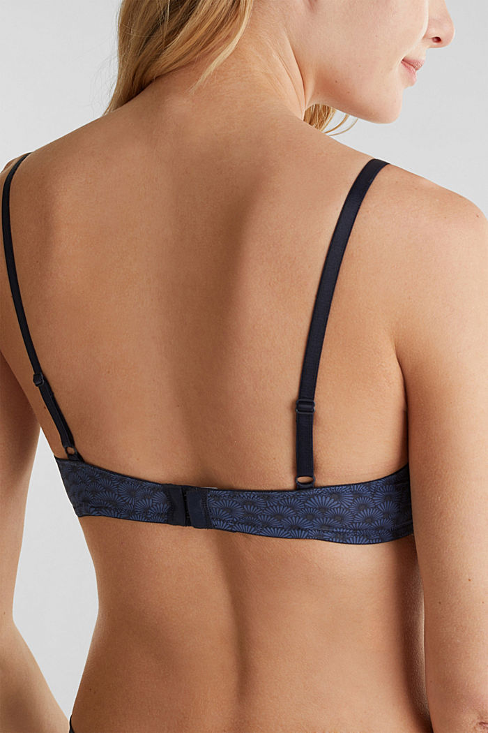 Padded underwire bra with a shell print, NAVY, detail image number 4