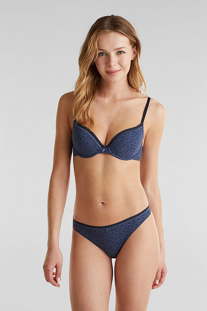 Hipster thong with a shell print, NAVY, detail image number 0