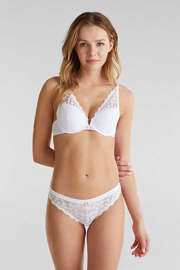 Push-up bra made of crocheted lace, WHITE, detail image number 2