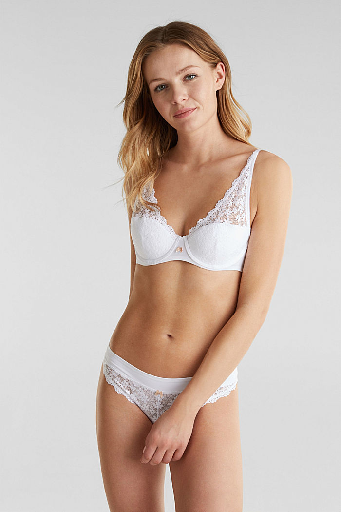 Half cup bra made of crocheted lace, WHITE, detail image number 0