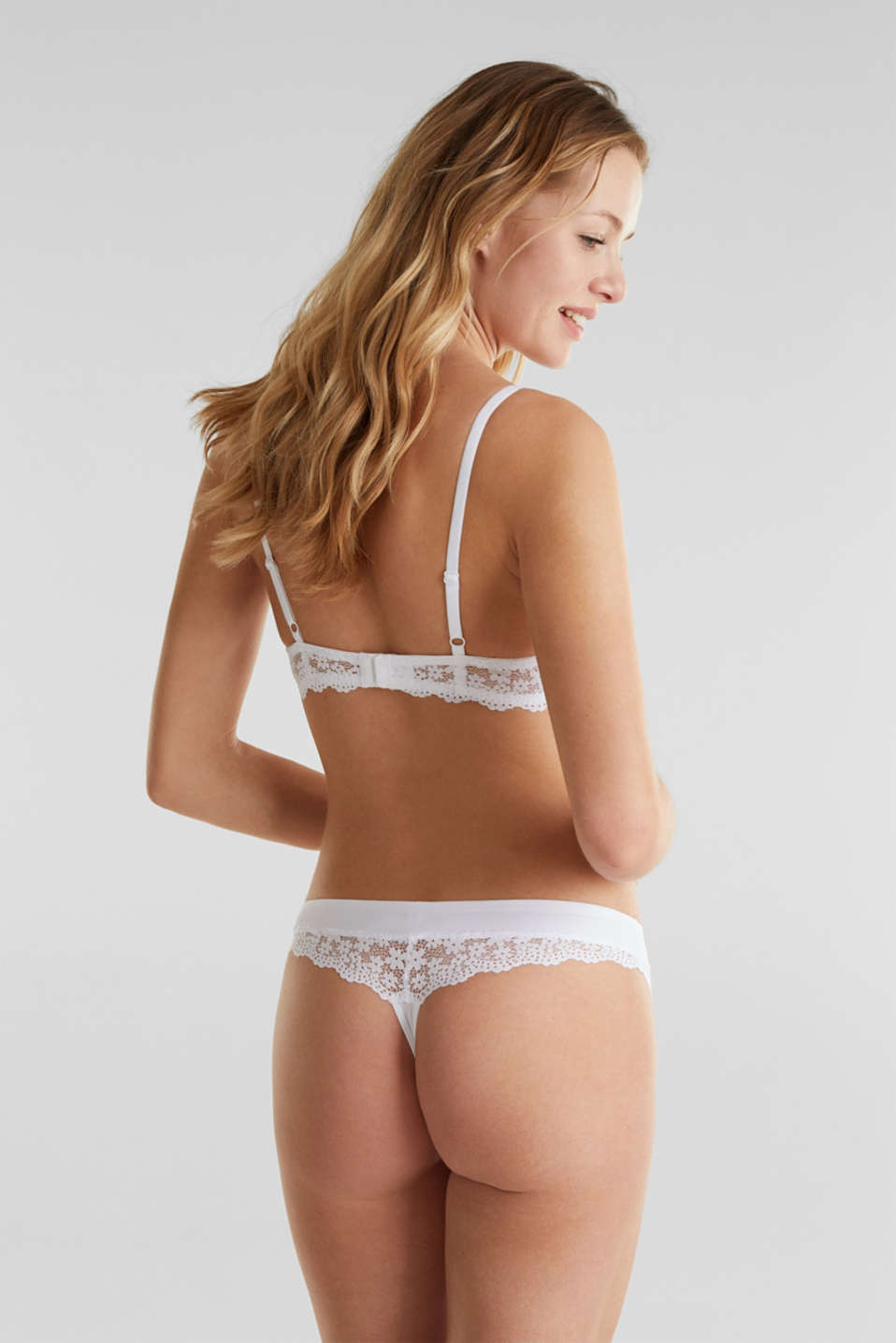 Half cup bra made of crocheted lace, WHITE, detail image number 1