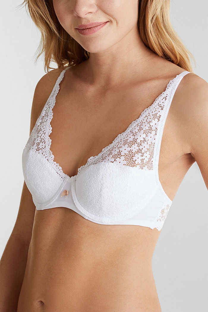 Half cup bra made of crocheted lace, WHITE, detail image number 3