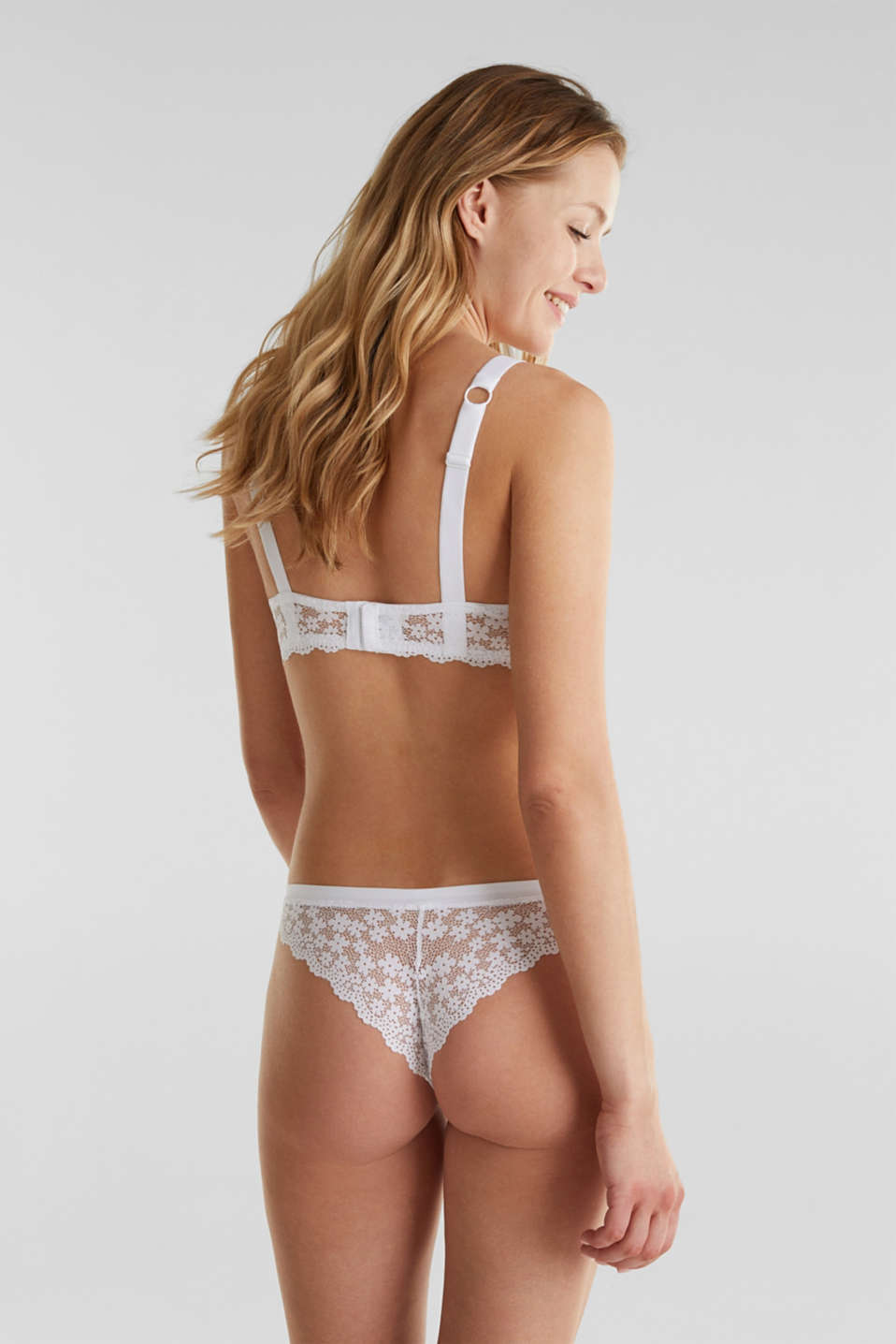 Unpadded underwire lace bra, WHITE, detail image number 1