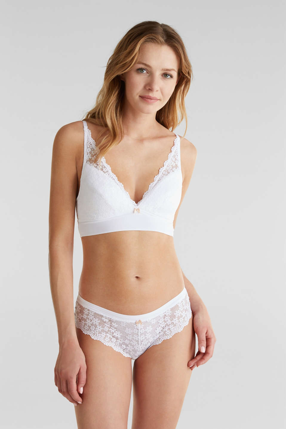 Padded wireless bra in lace, WHITE, detail image number 0