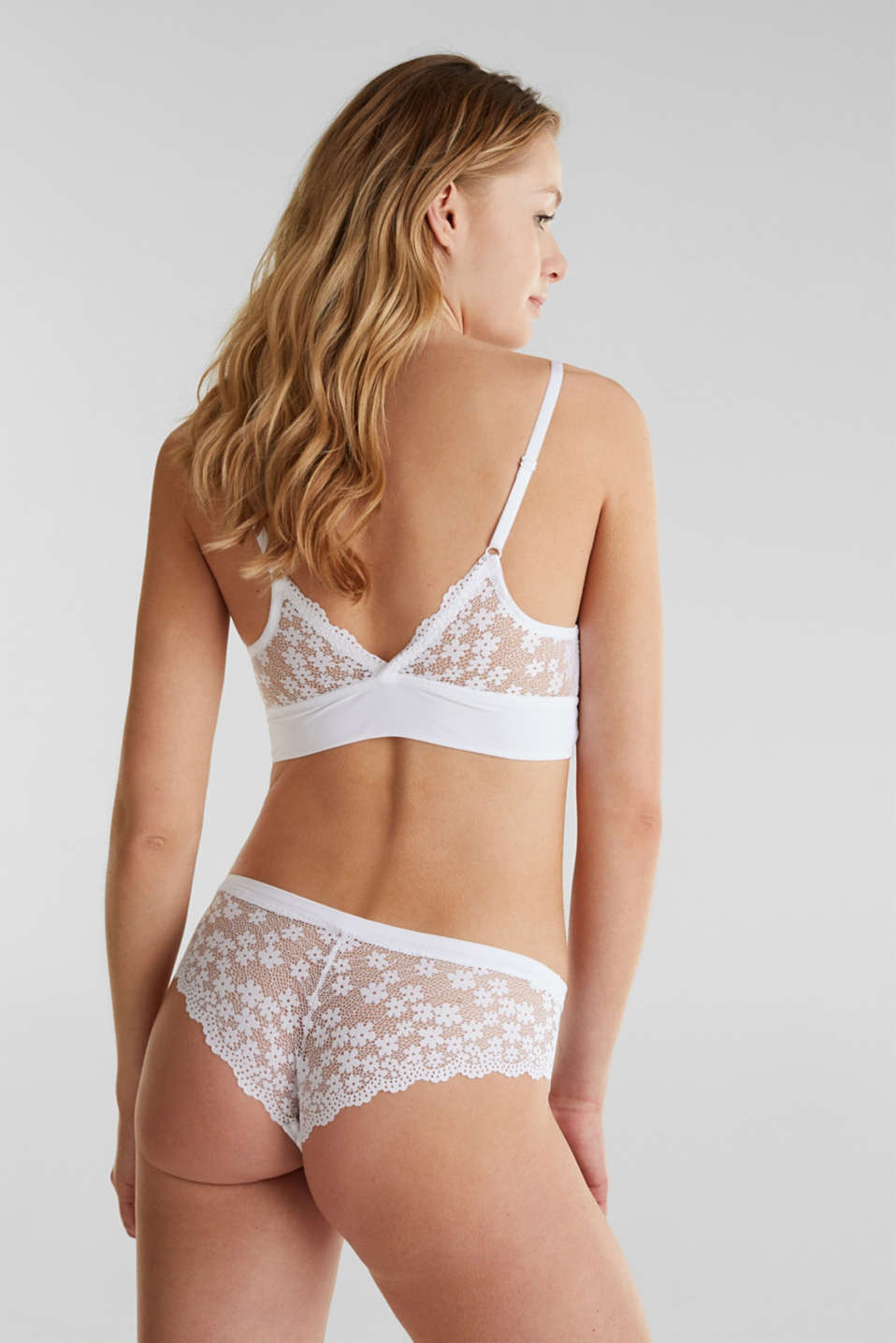 Padded wireless bra in lace, WHITE, detail image number 1