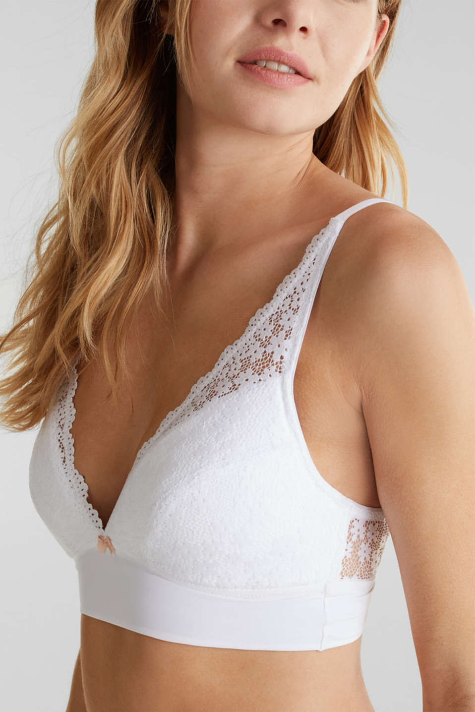 Padded wireless bra in lace, WHITE, detail image number 3