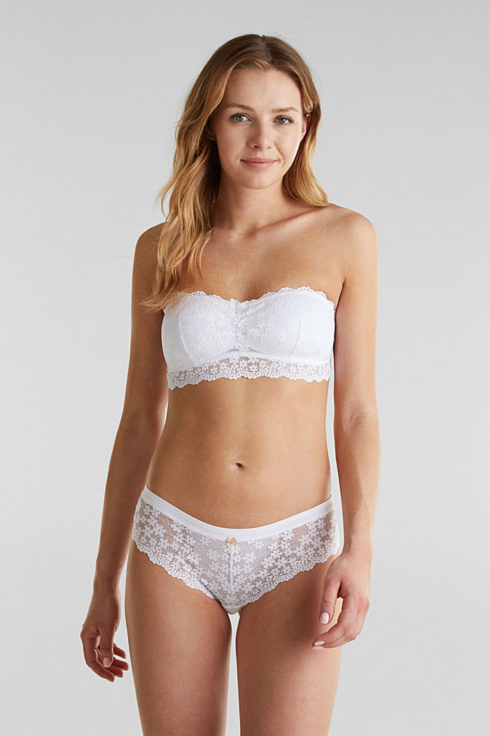 Padded, strapless lace bra, WHITE, detail image number 0