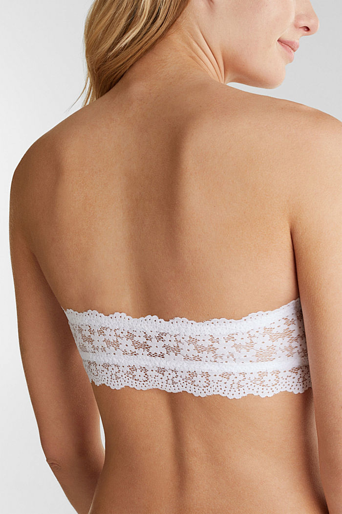 Padded, strapless lace bra, WHITE, detail image number 4