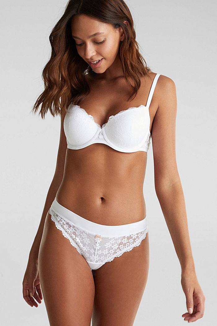 Hipster thong in crocheted lace, WHITE, detail image number 0