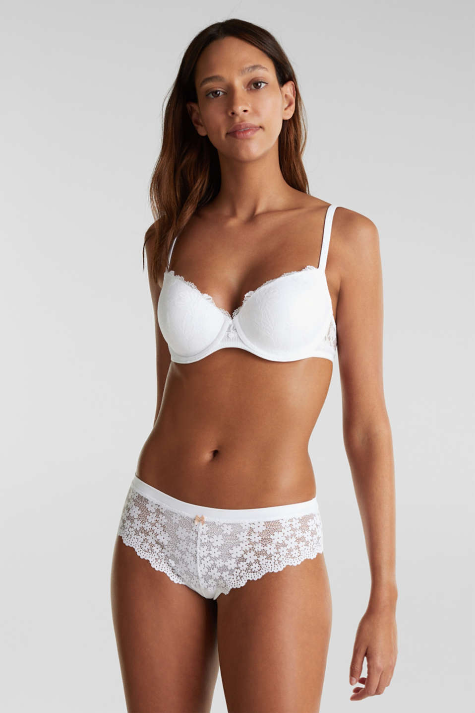 Padded underwire bra in lace, WHITE, detail image number 0