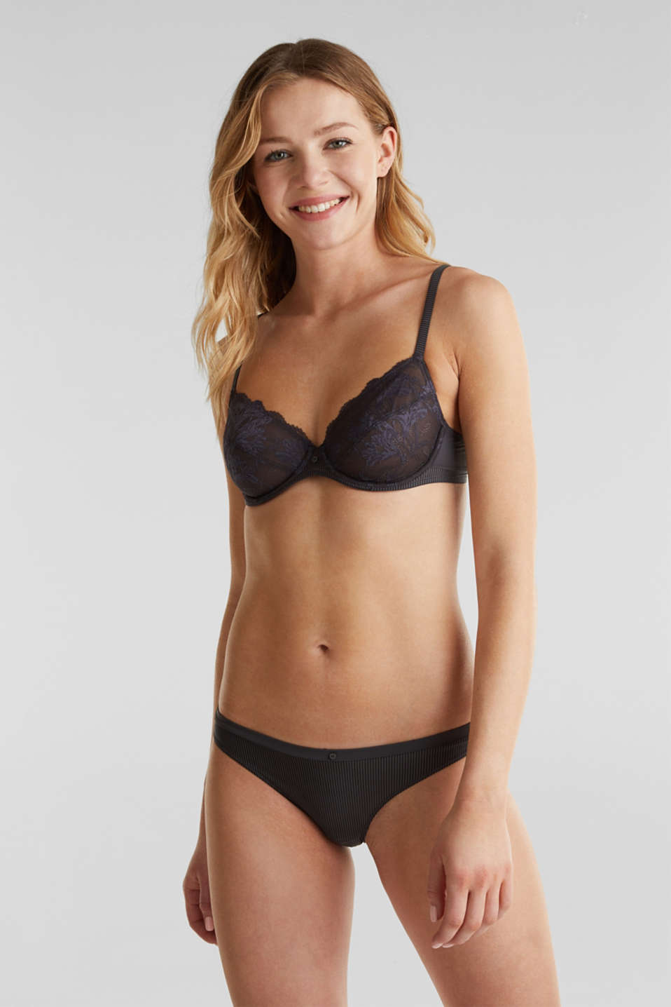 Unpadded underwire bra with lace, ANTHRACITE, detail image number 0
