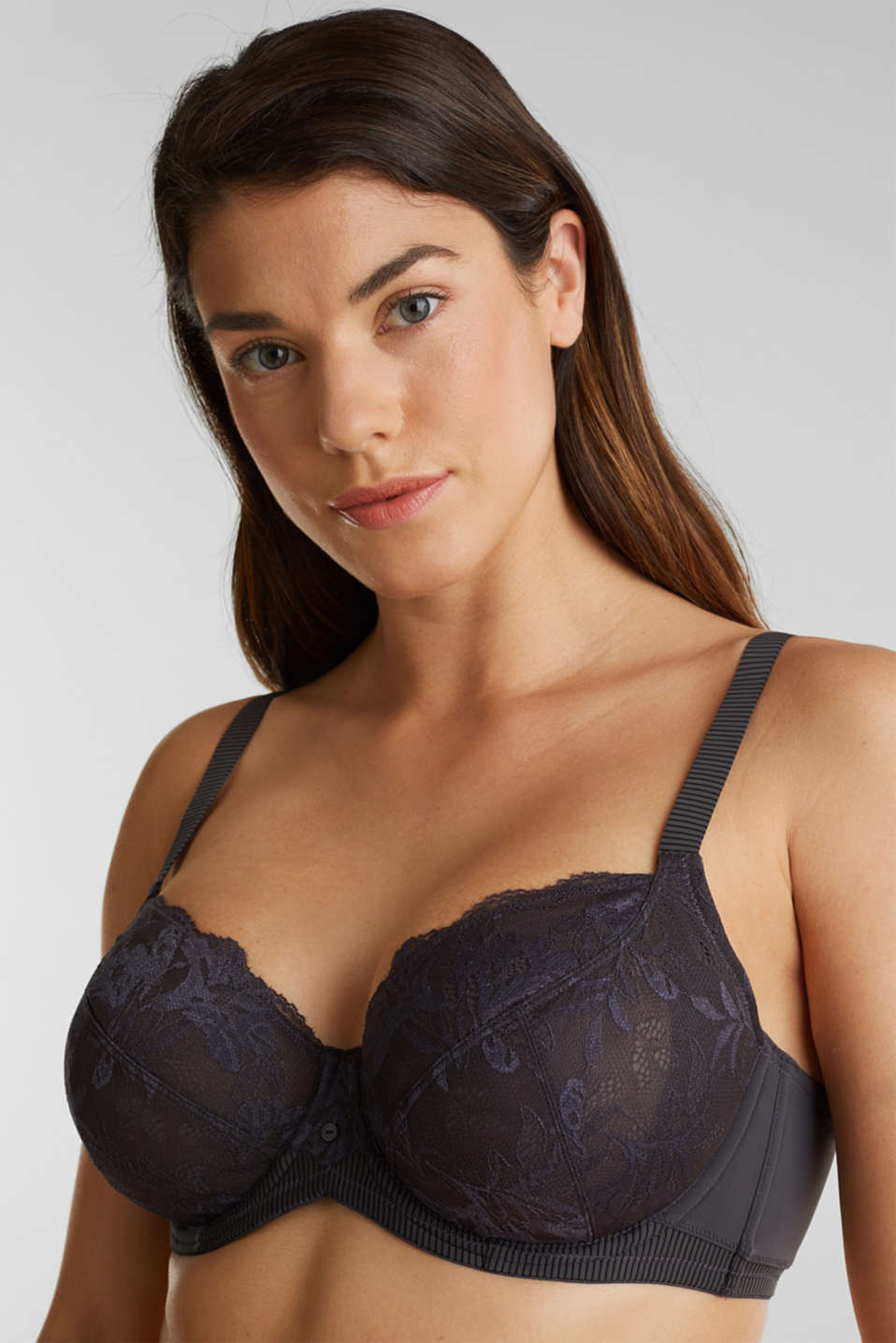 Unpadded underwire bra made of two-tone lace, ANTHRACITE, detail image number 0