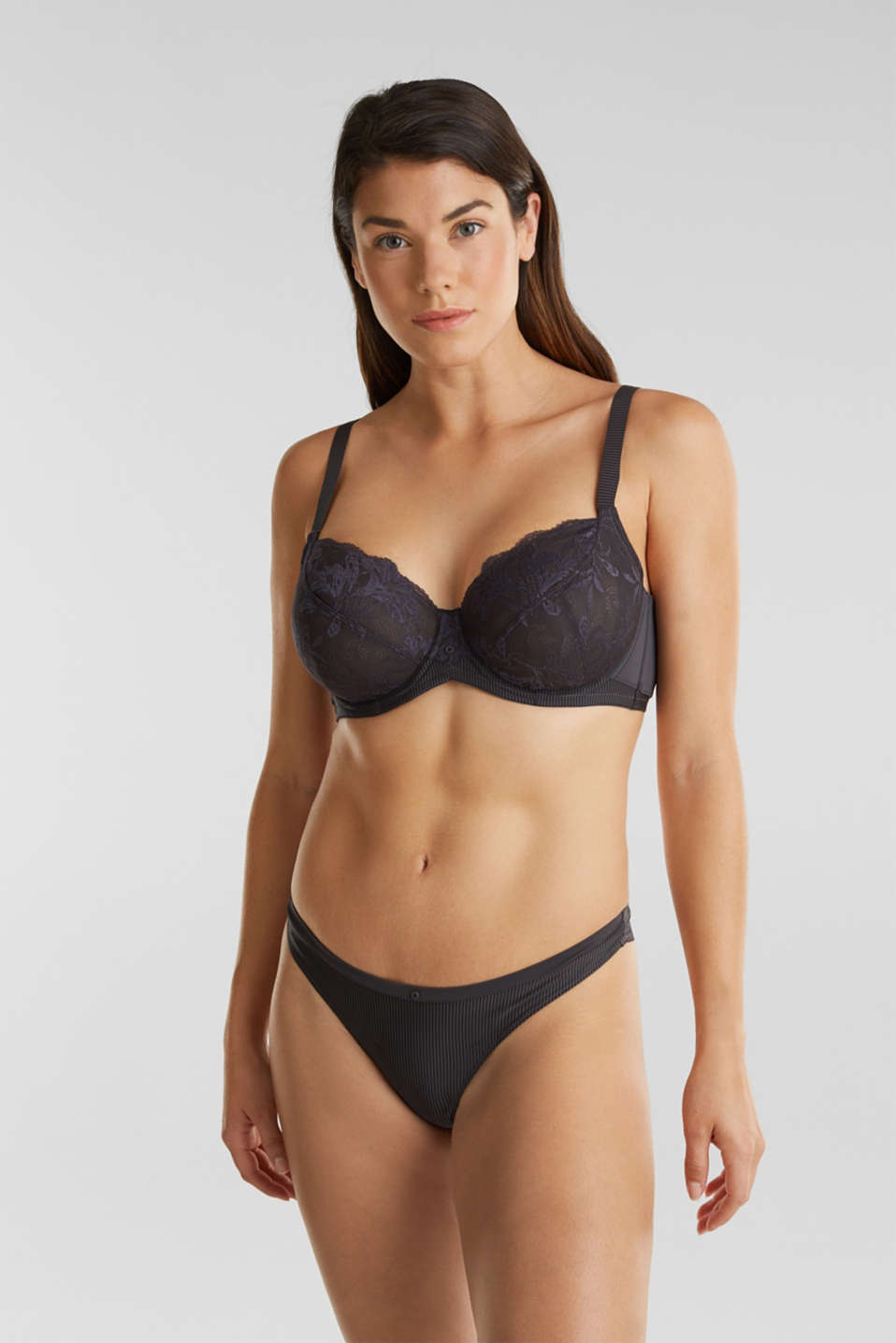 Unpadded underwire bra made of two-tone lace, ANTHRACITE, detail image number 2