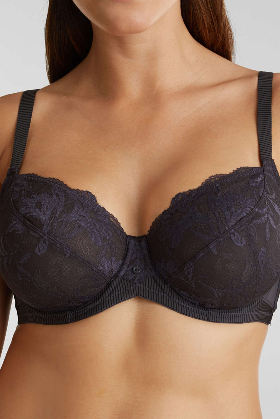 Unpadded underwire bra made of two-tone lace, ANTHRACITE, detail image number 3