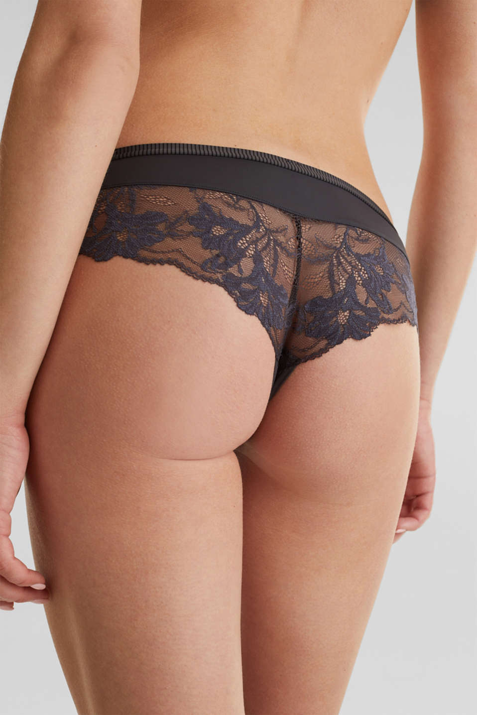 Hipster shorts with lace, ANTHRACITE, detail image number 3