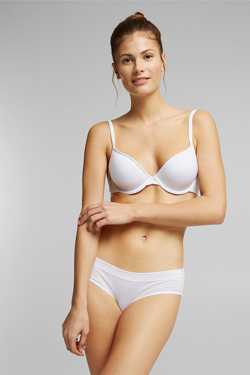 Padded ribbed jersey underwire bra