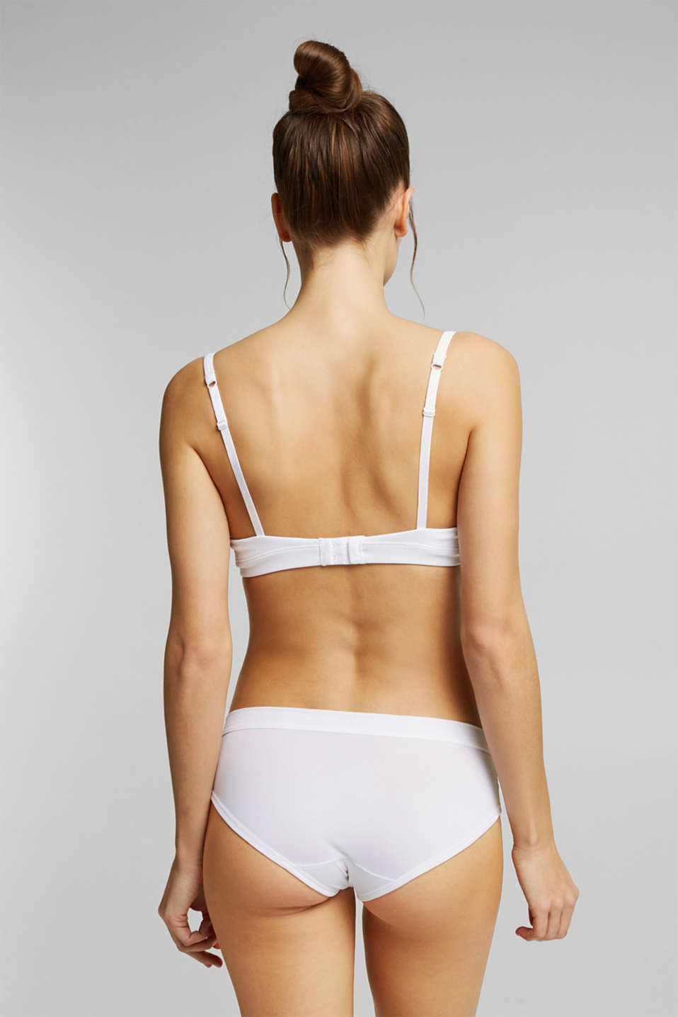 Padded ribbed jersey underwire bra, WHITE, detail image number 1