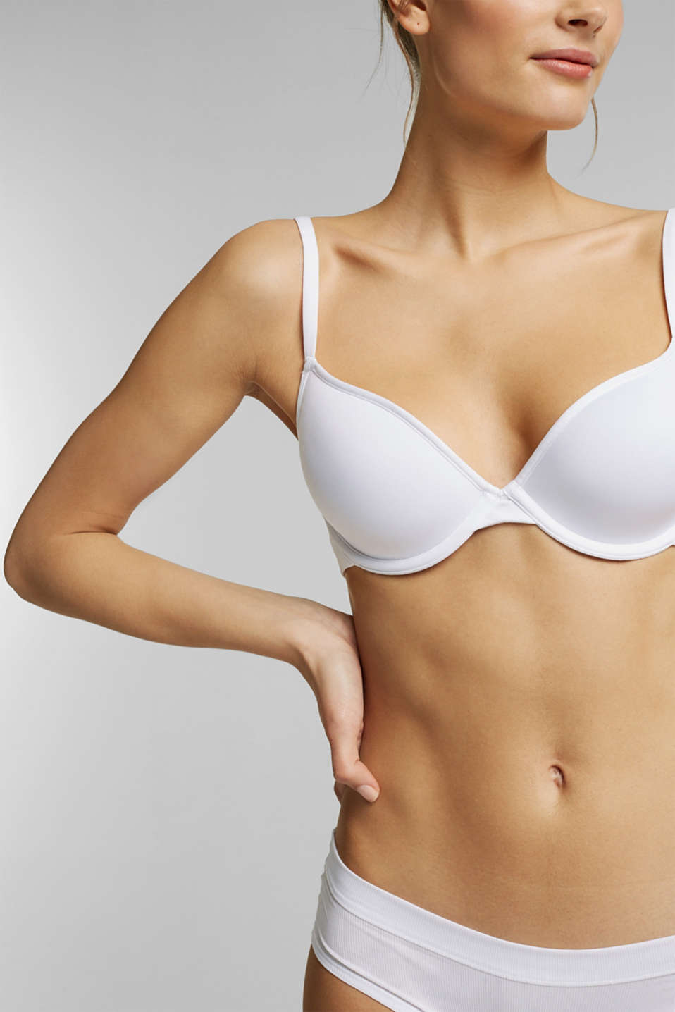 Padded ribbed jersey underwire bra, WHITE, detail image number 2