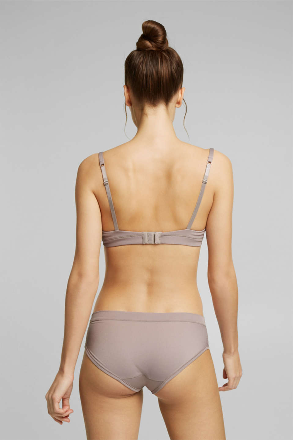 Padded ribbed jersey underwire bra, TAUPE, detail image number 1
