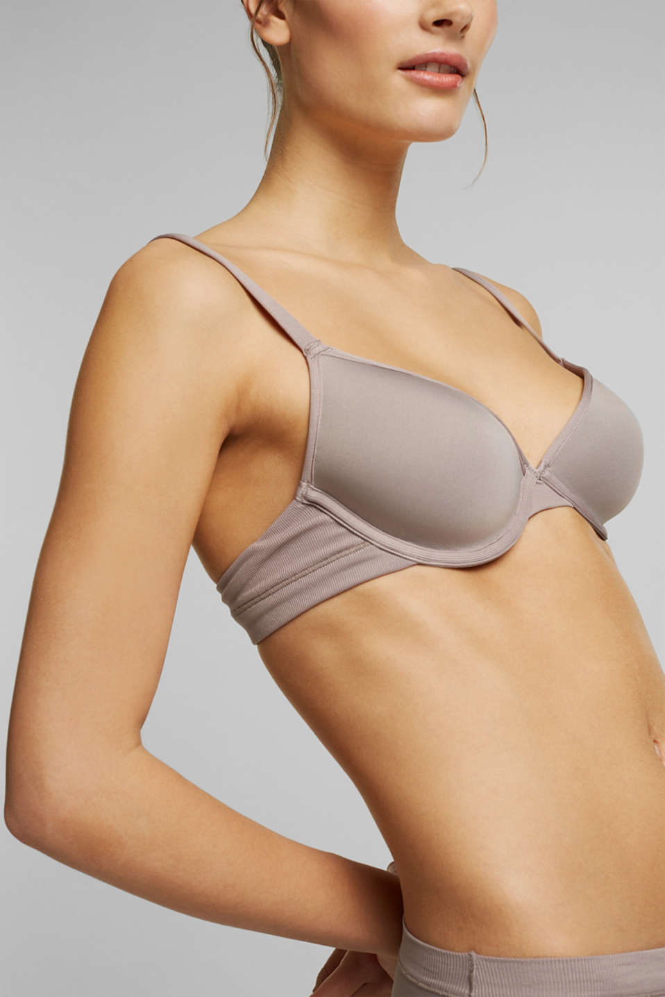 Padded ribbed jersey underwire bra, TAUPE, detail image number 2