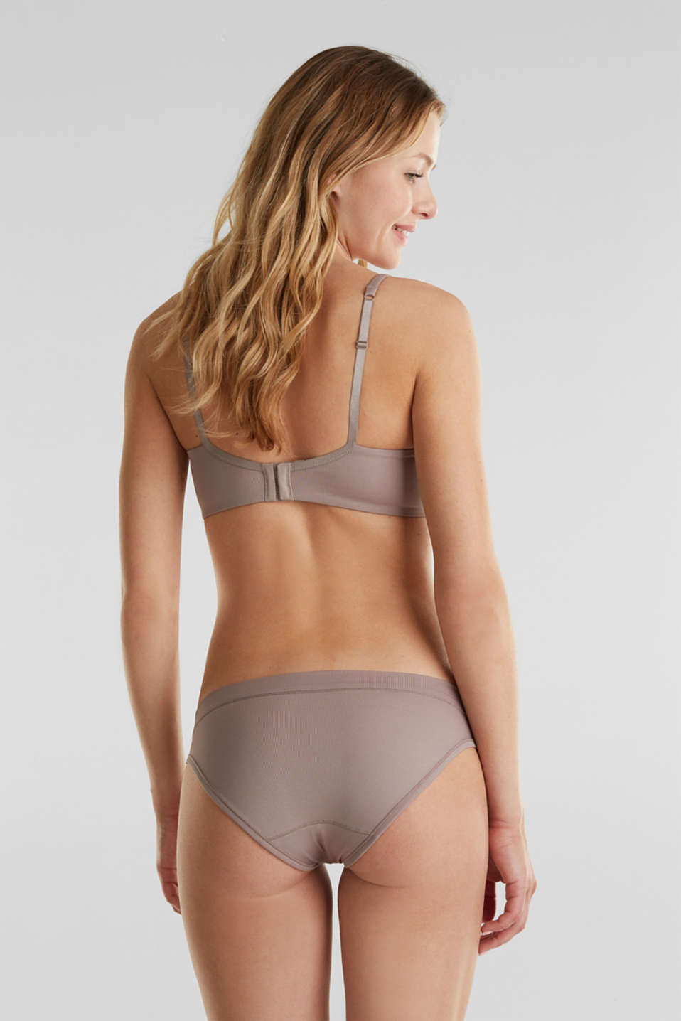 Padded, wireless jersey bra, TAUPE, detail image number 1