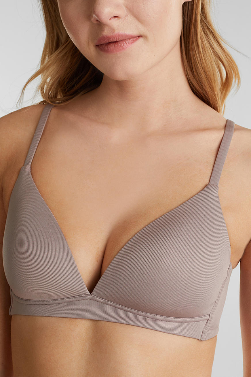 Padded, wireless jersey bra
