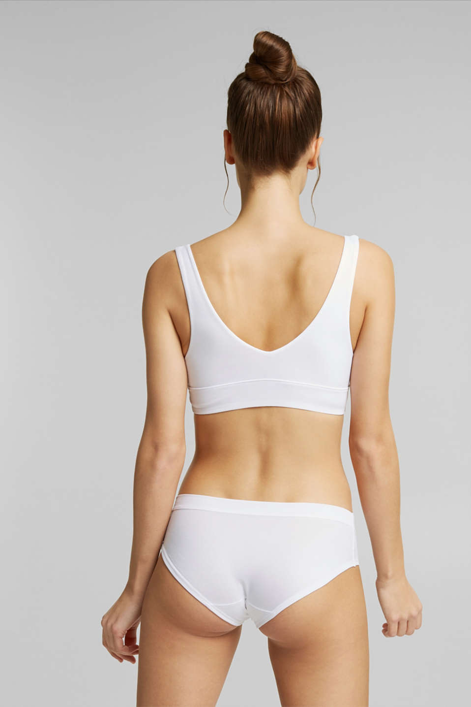 Unpadded bustier made of jersey, WHITE, detail image number 1