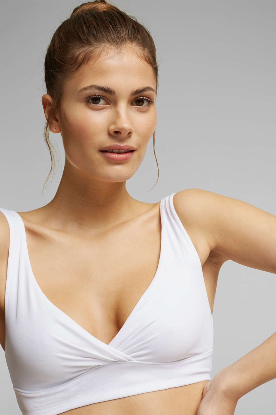 Unpadded bustier made of jersey, WHITE, detail image number 3